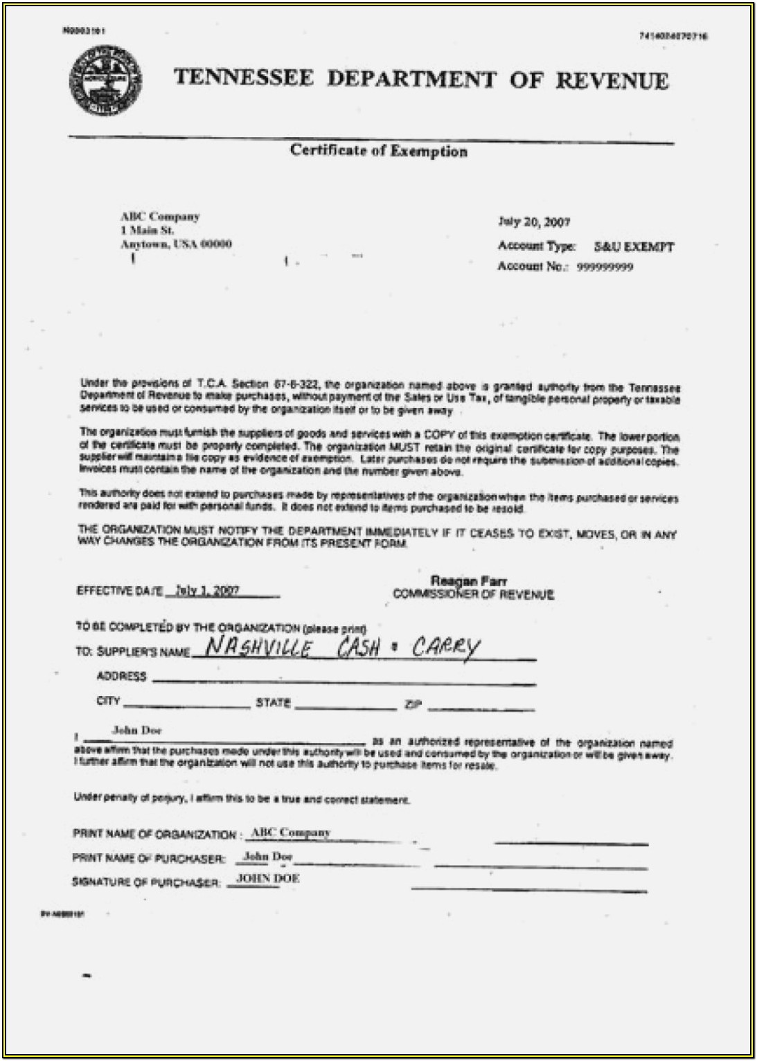 Workmans Comp Exempt Form