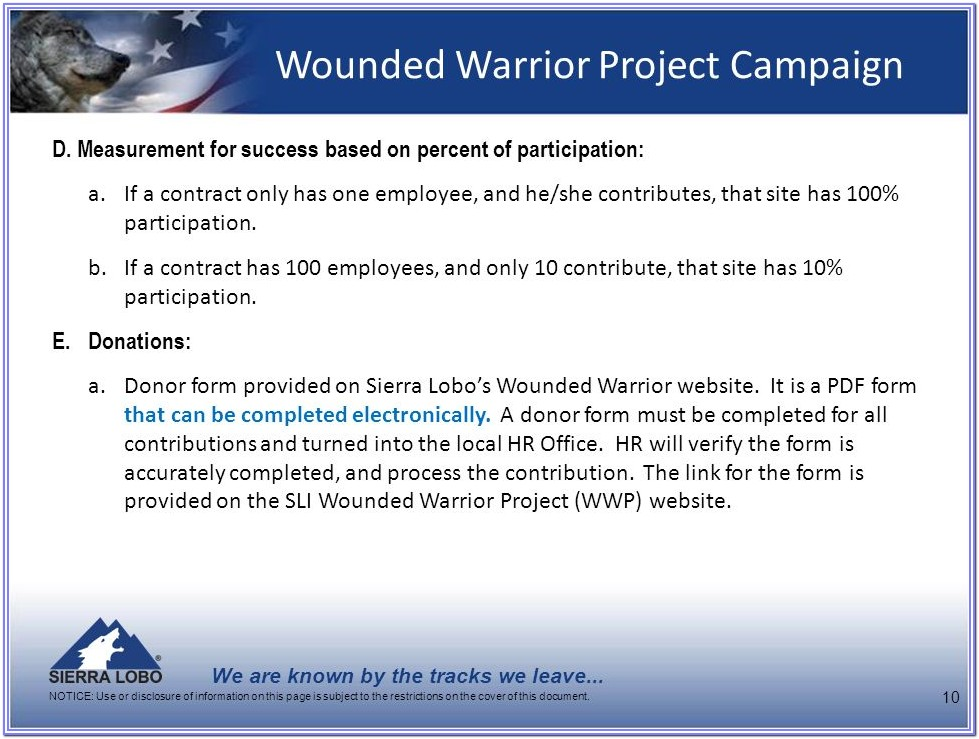 Wounded Warrior Project Donation Form