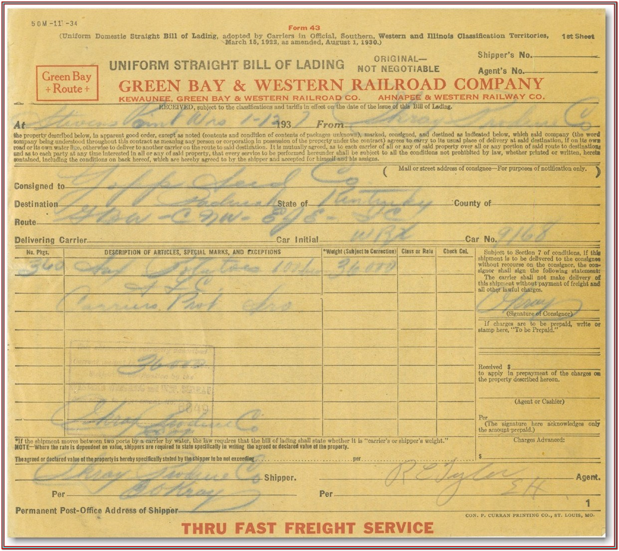 Yellow Freight Bill Of Lading Form