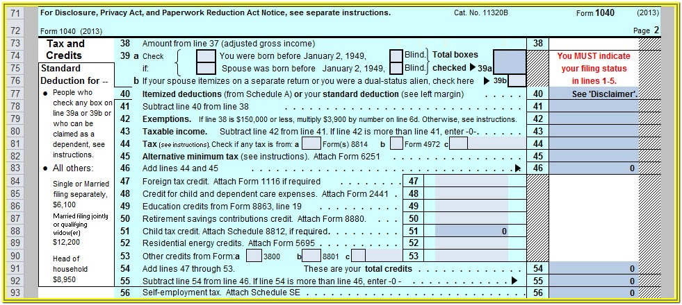 1040 Form 2013 Fillable