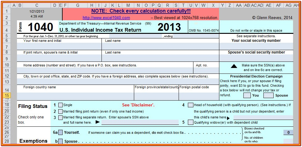 2013 Federal Tax Return Form 1040