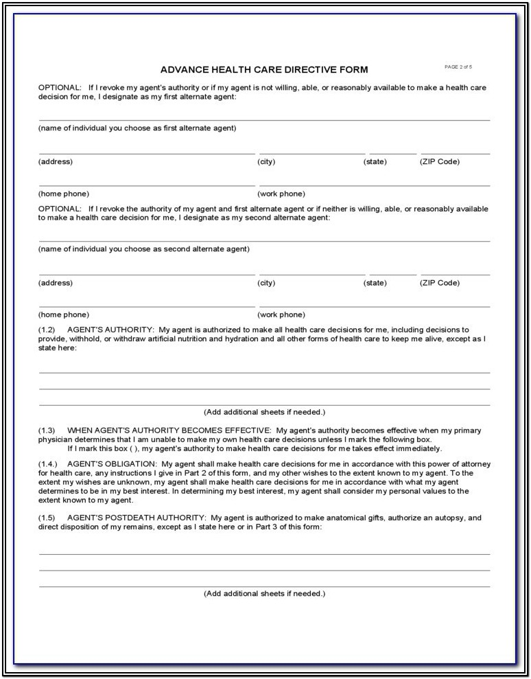 Advance Care Directive Form