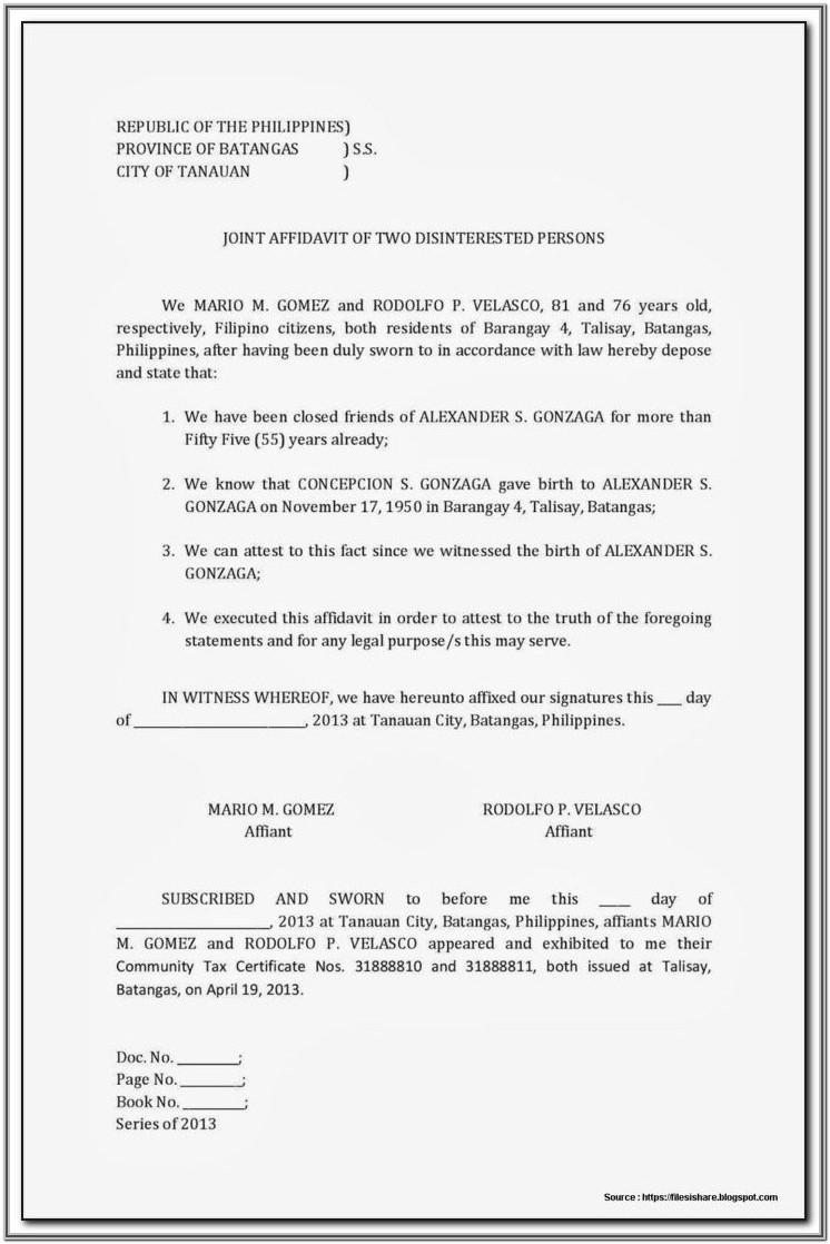Affidavit Legal Forms Philippines