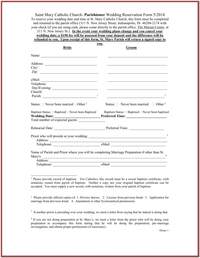 Annulment Application Form Catholic Church