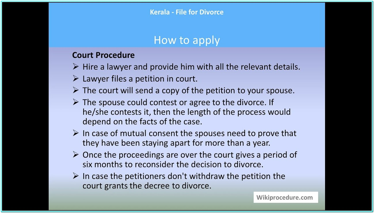 Application Form For Divorce In Kerala