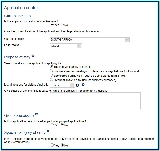 Australian Visitors Visa Application Form