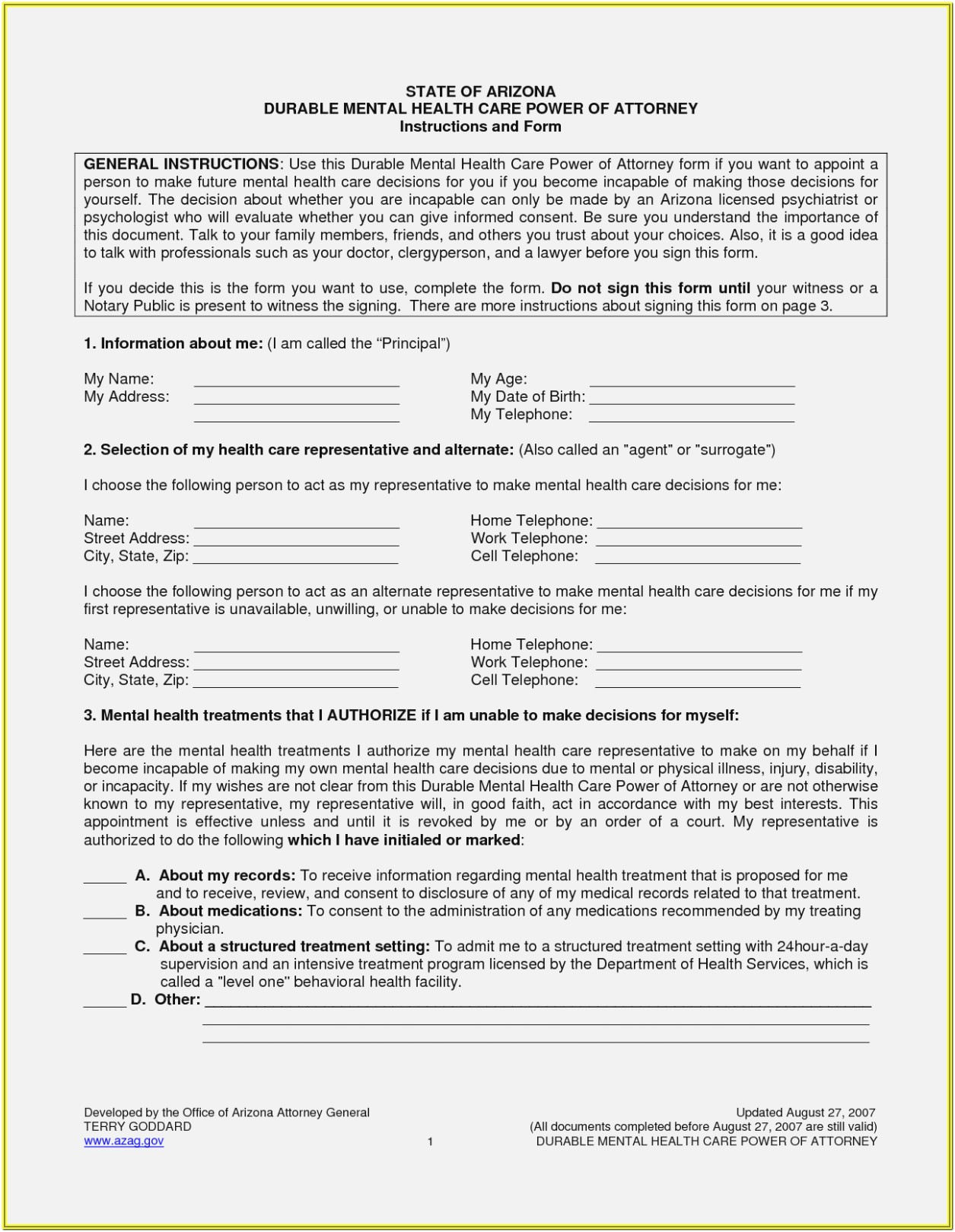 Az Power Of Attorney Form
