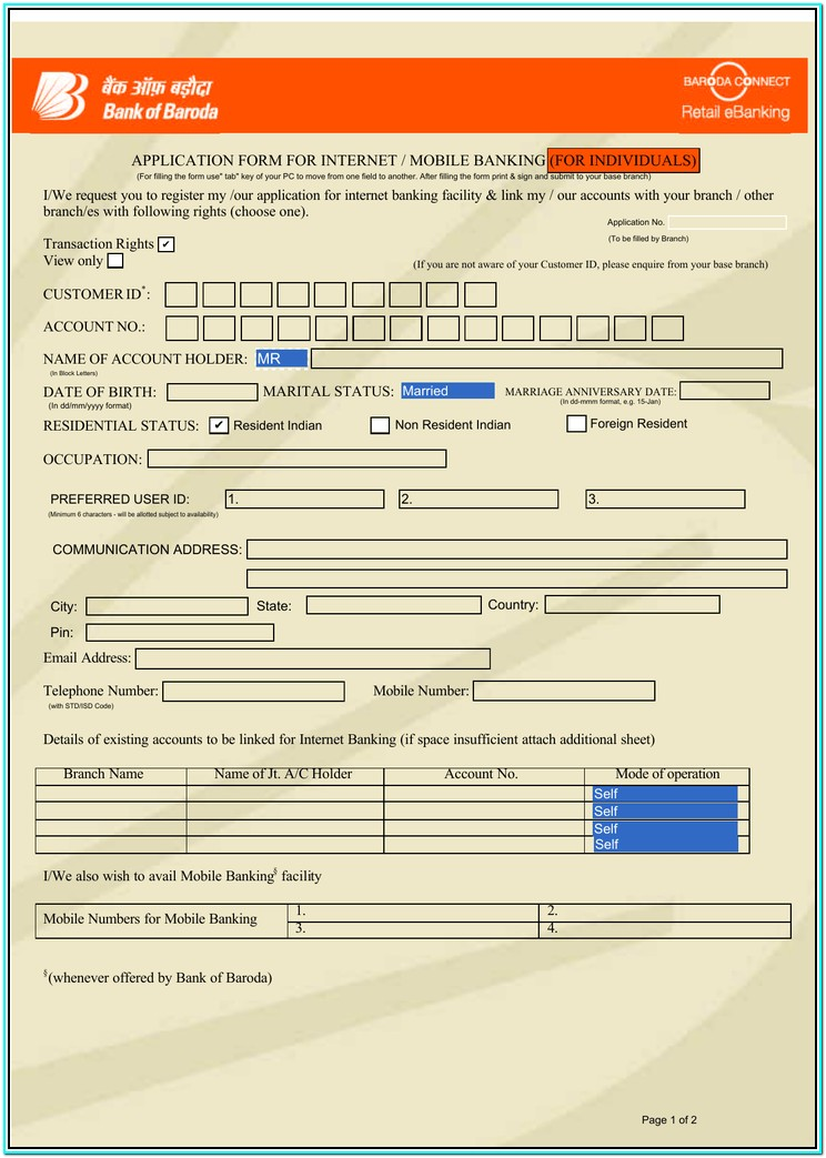 Bank Of Baroda Mobile Banking Form