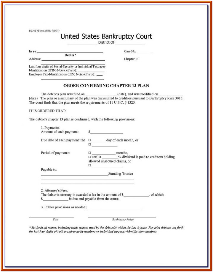 Bankruptcy Forms For Chapter 7