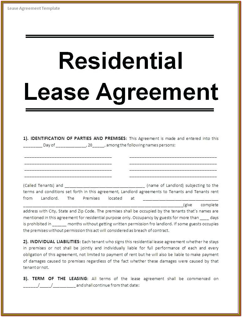 Basement Rental Agreement Form Ontario