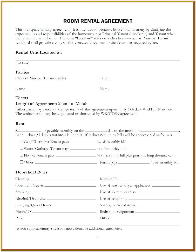 Basement Rental Agreement Form