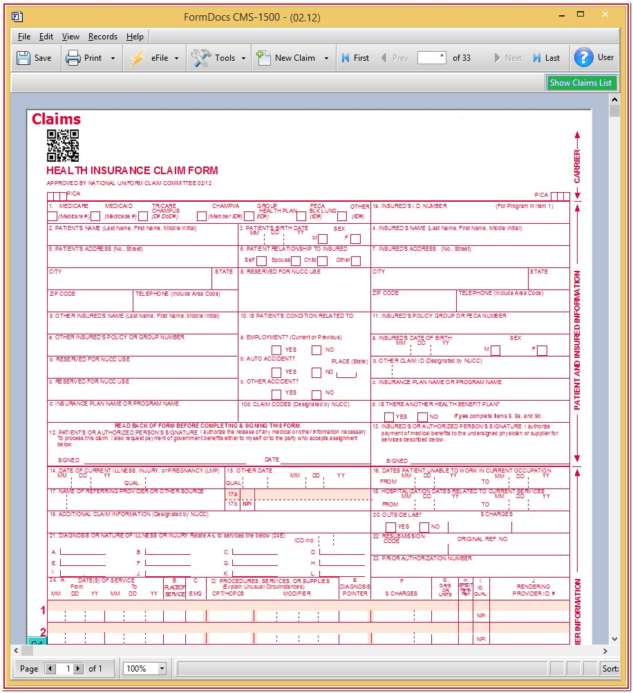 Billing Cms 1500 Claim Form