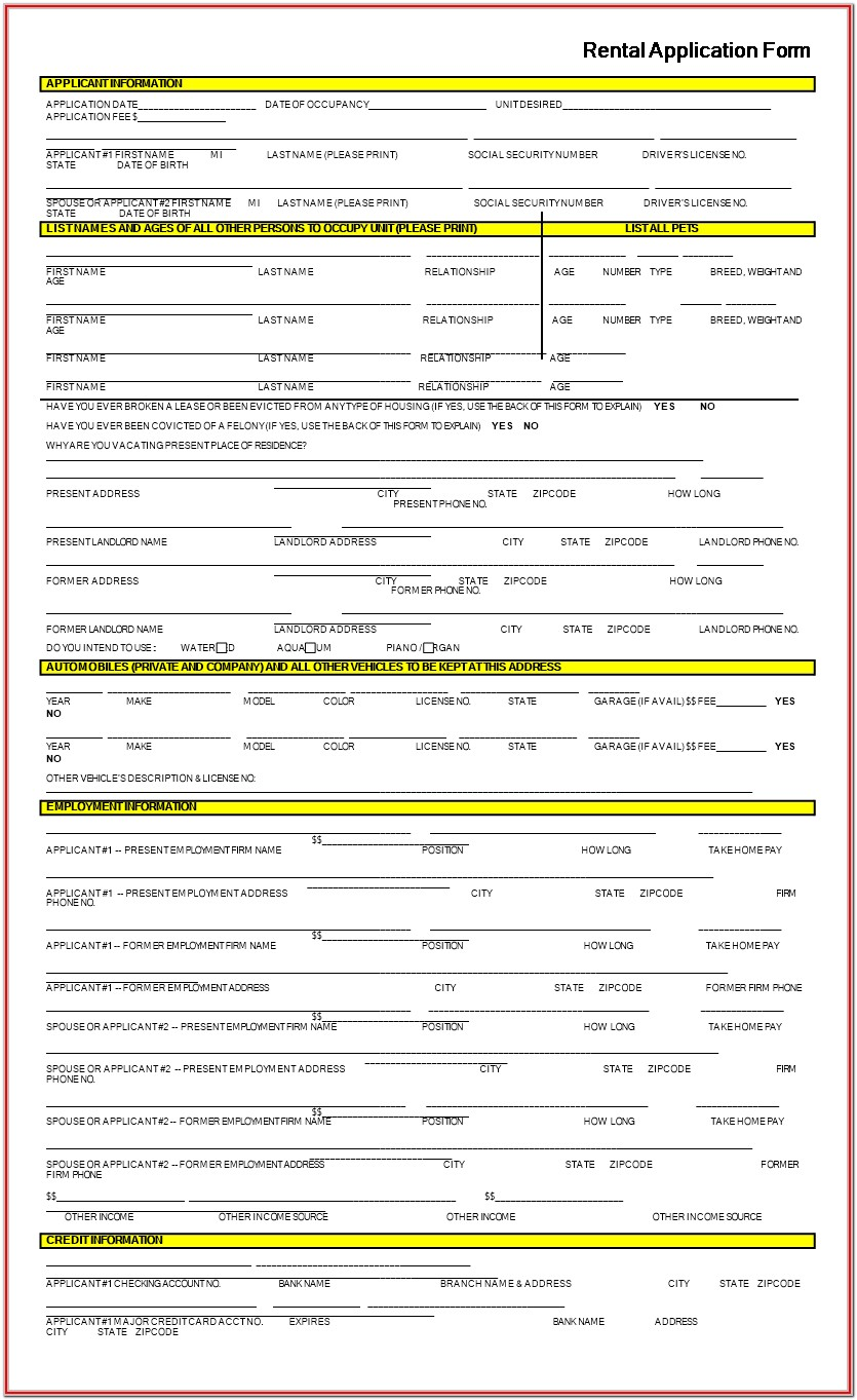 Blank Rental Application Form