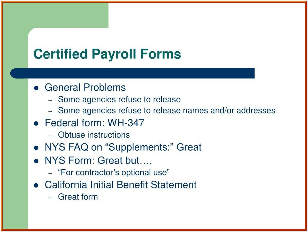 Certified Payroll Forms California