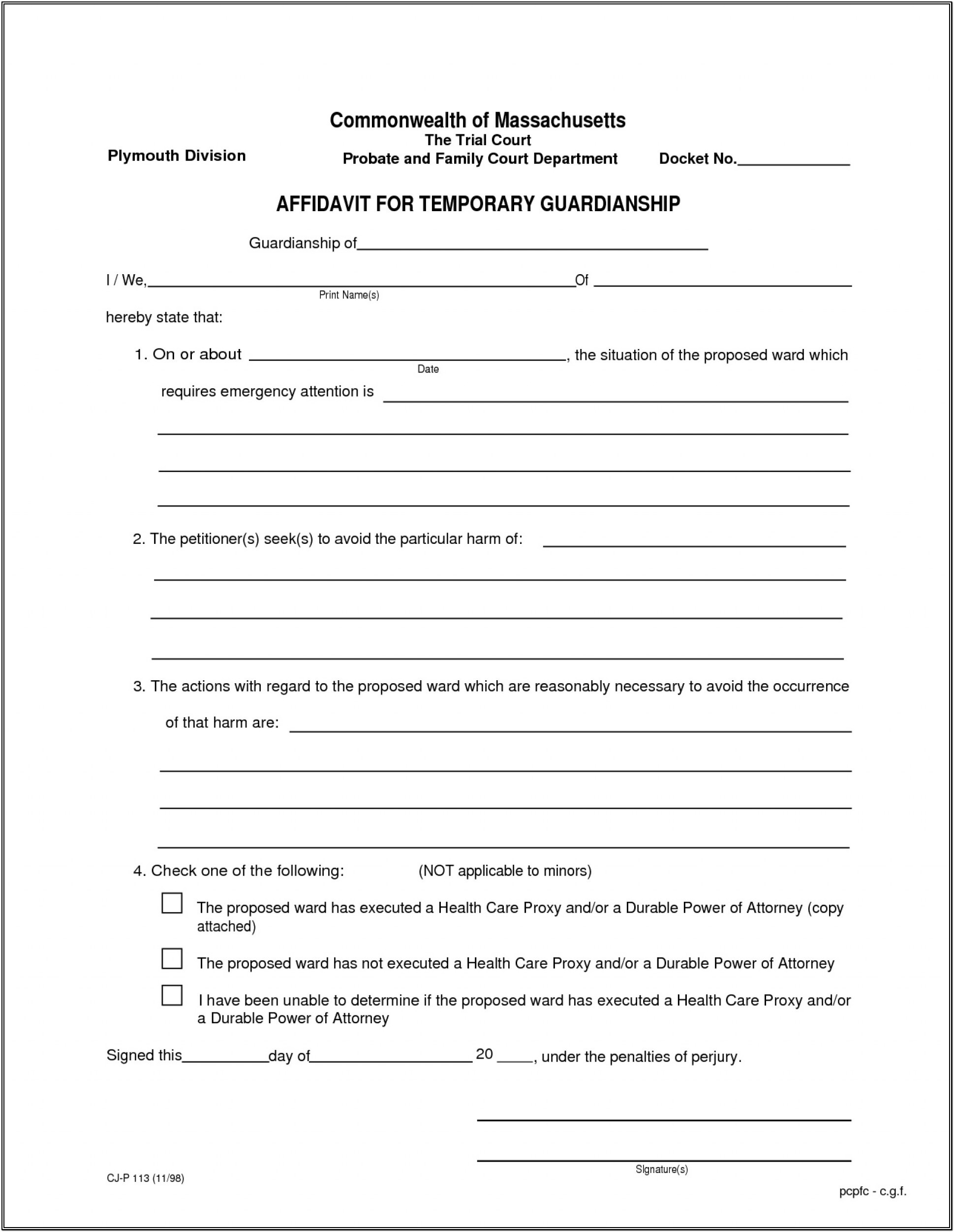 Child Custody Legal Guardianship Forms Pdf