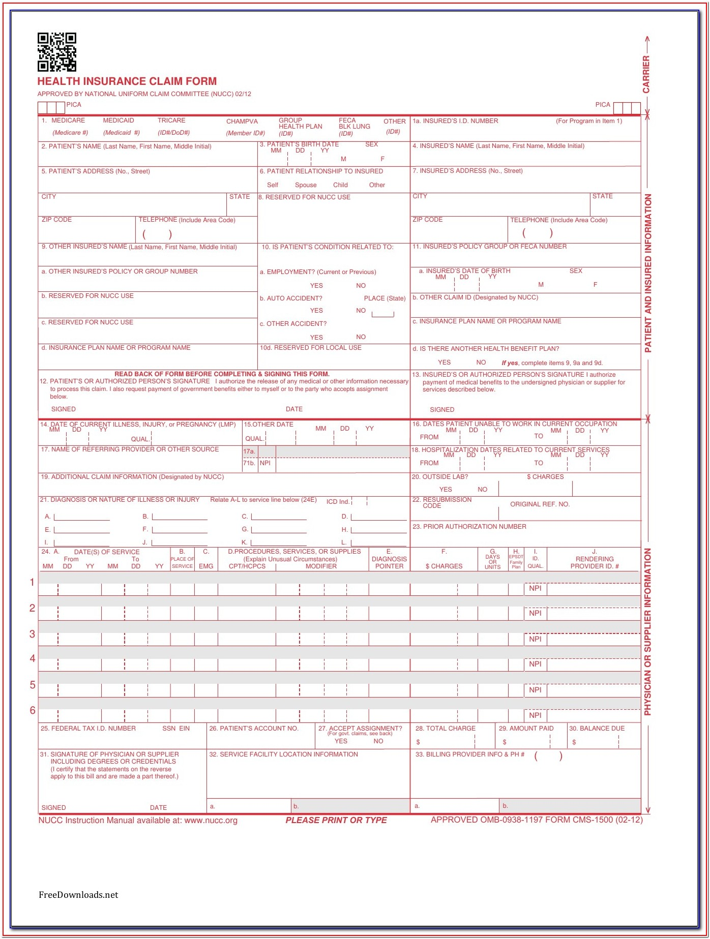 Cms 1500 Billing Form Instructions