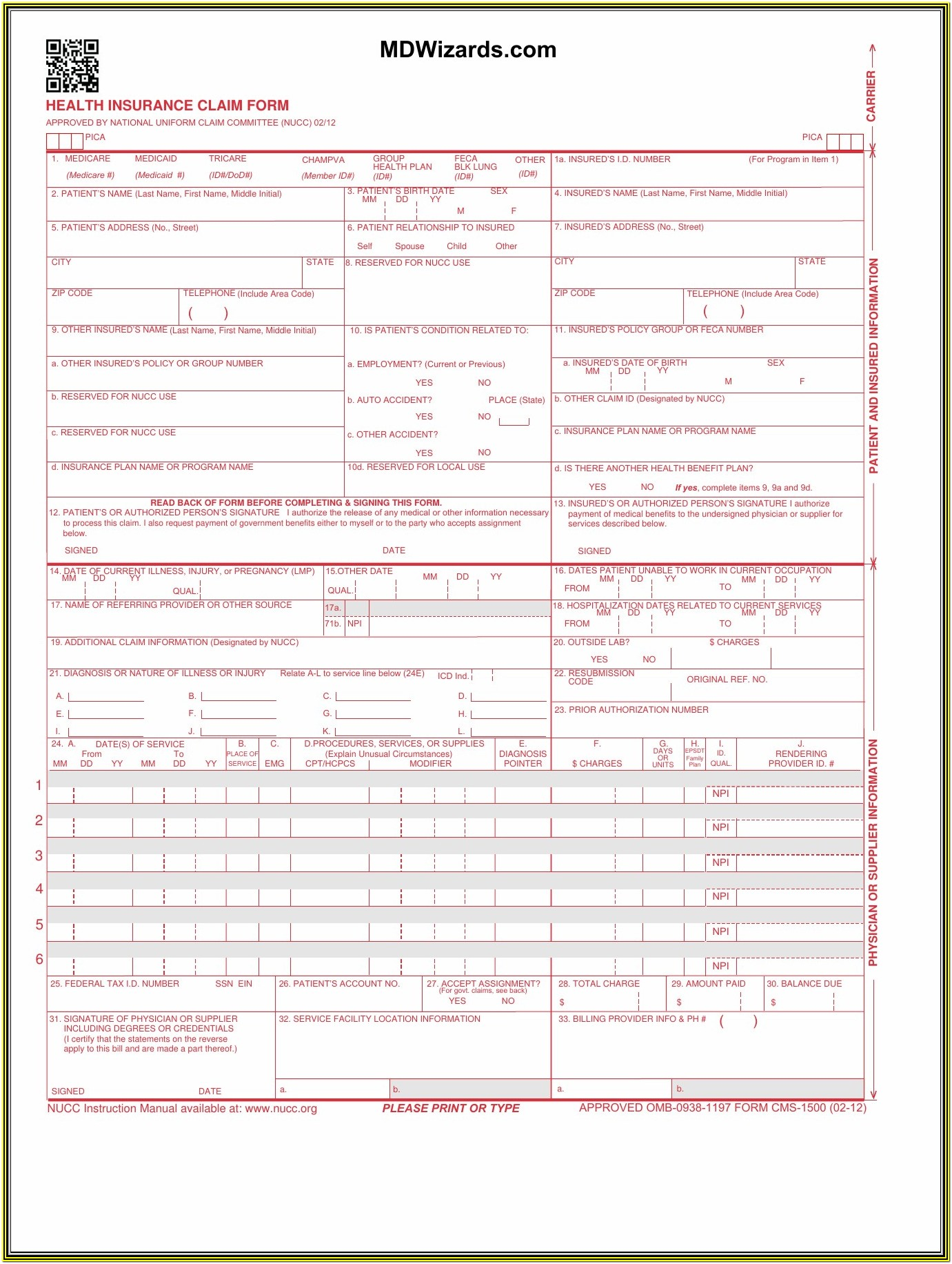 Cms Hcfa 1500 Form Download