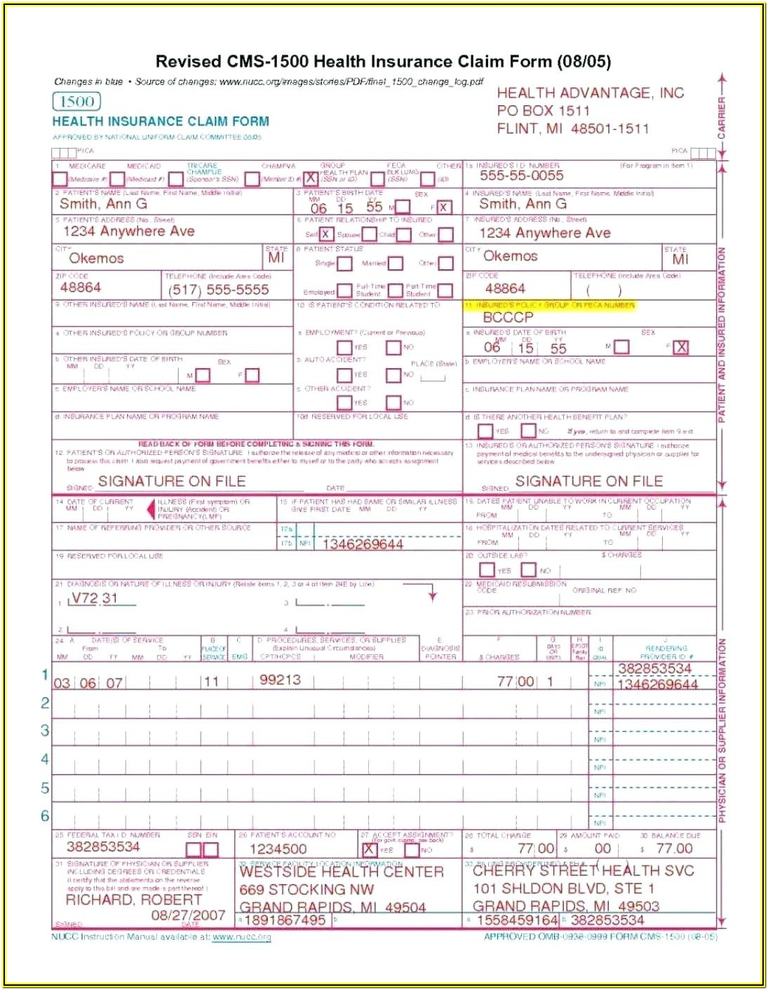 Cms Hcfa 1500 Form Instructions