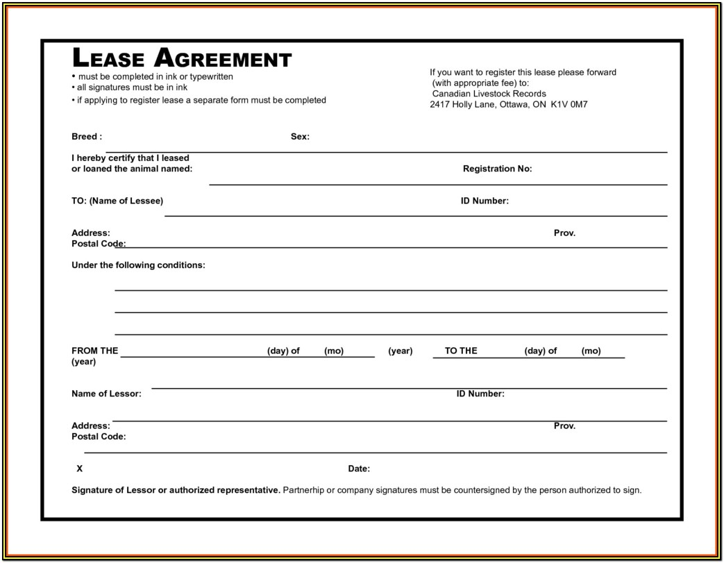 Condo Rental Agreement Form