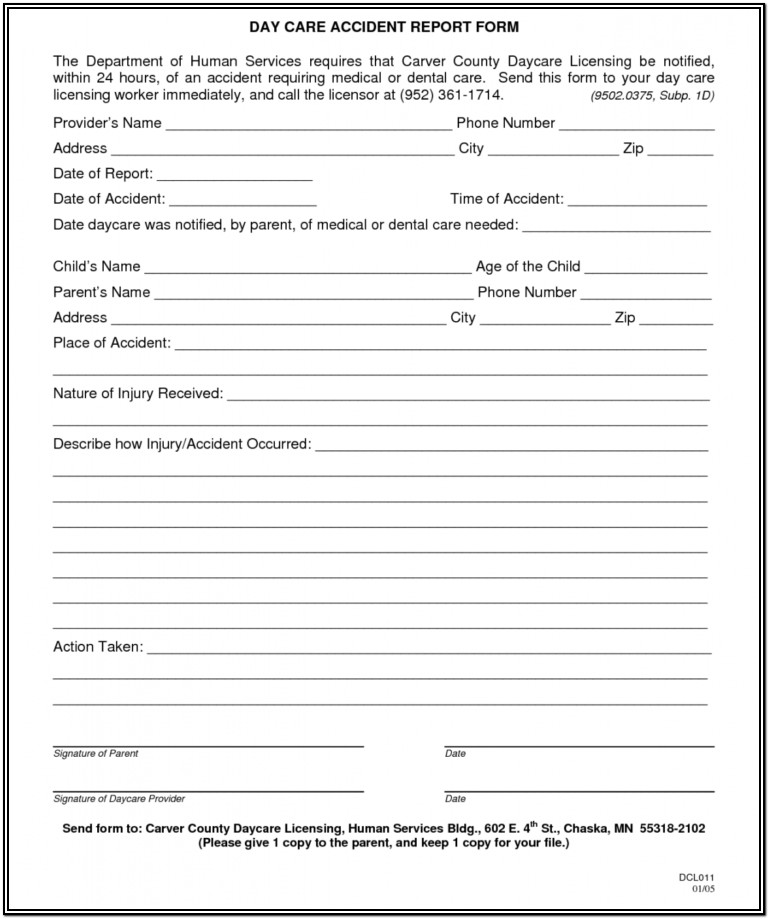 Construction Accident Report Form Template