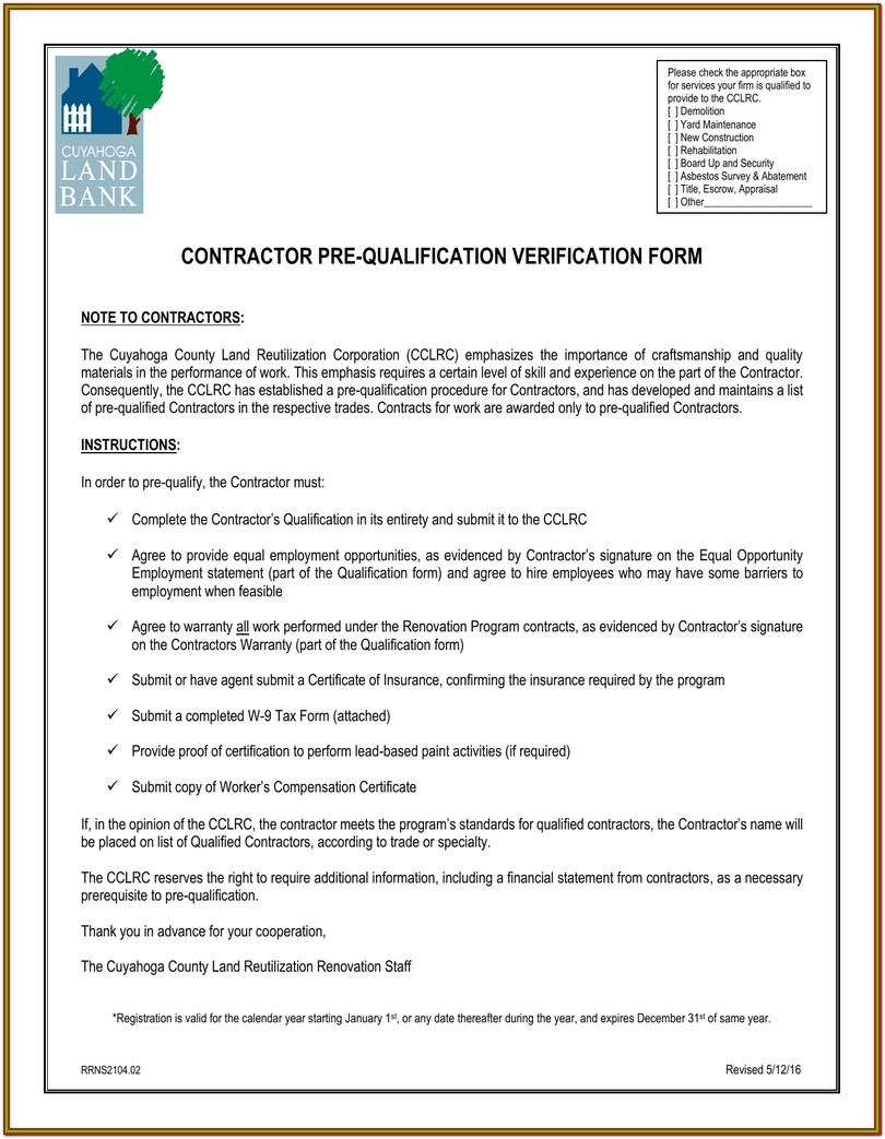 Contractor Pre Qualification Form