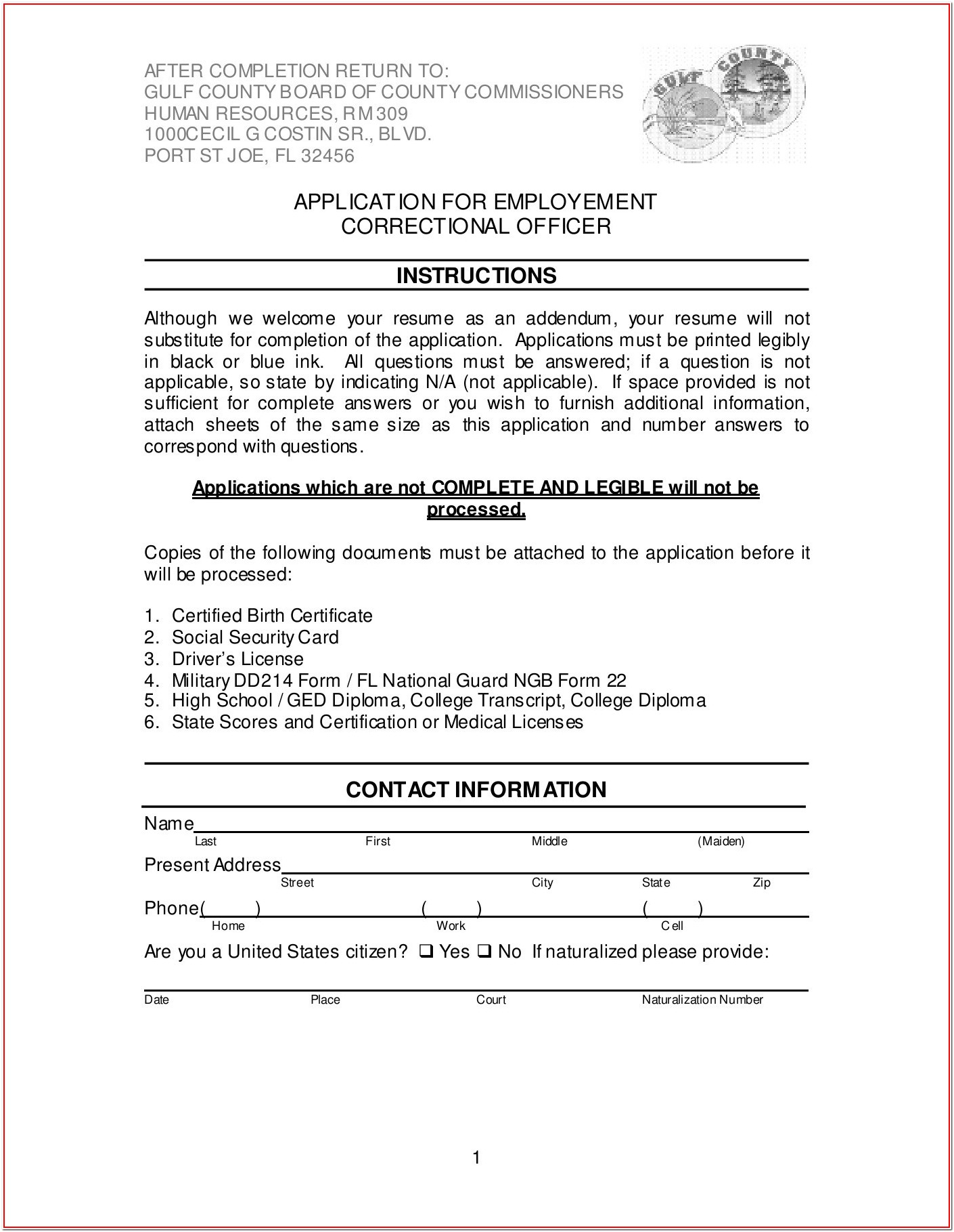 Correctional Officer Job Application