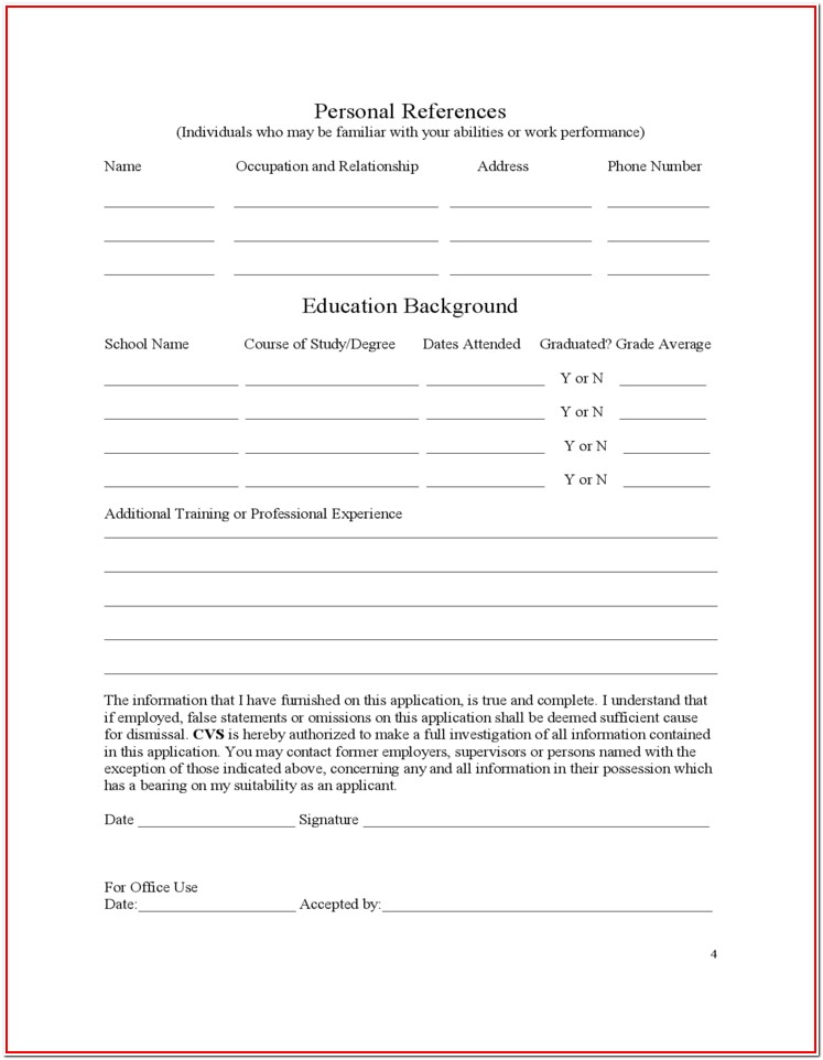 Cvs Pharmacy Job Application Form
