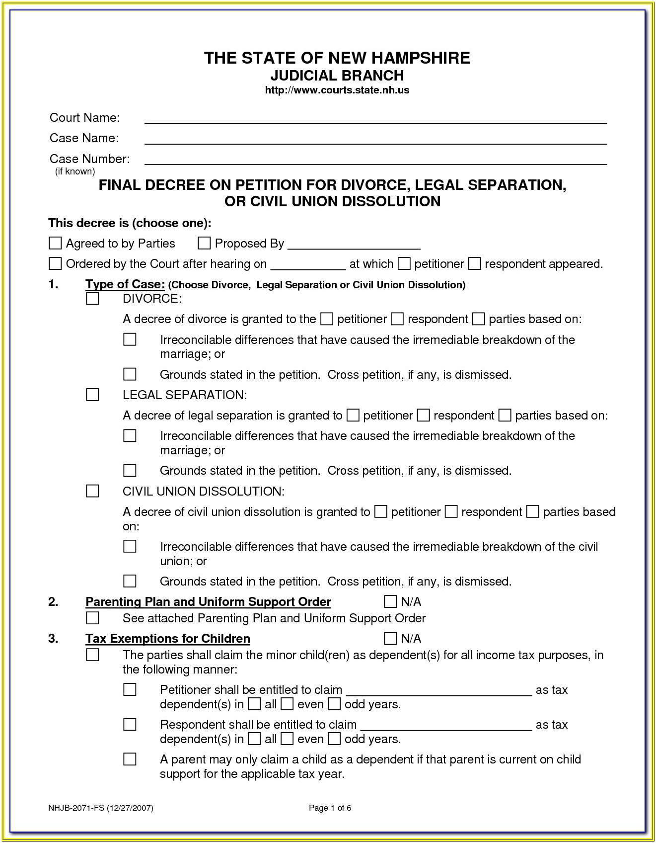 Decree Of Divorce Form