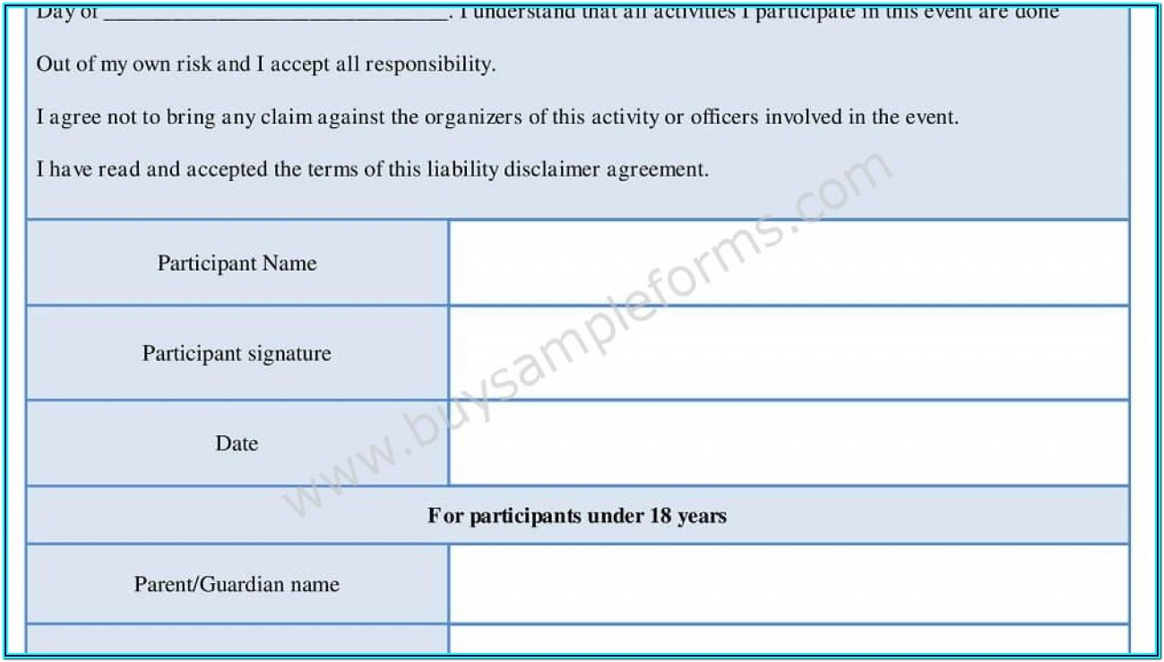 Disclaimer Forms Template