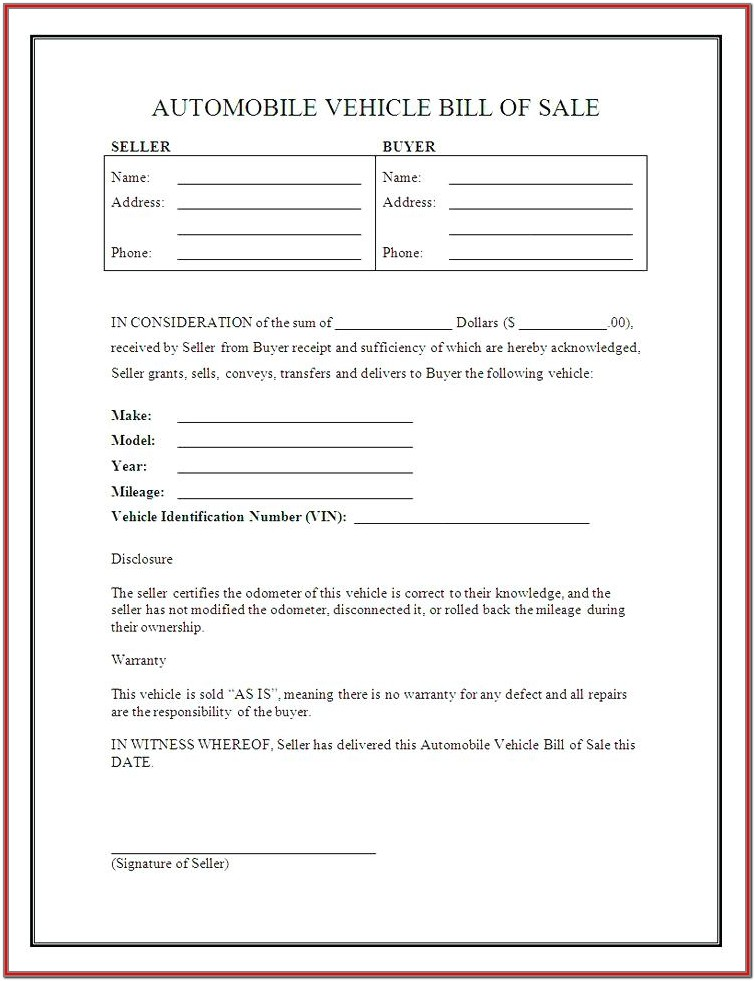 Downloadable Free Bill Of Sale Form For Car