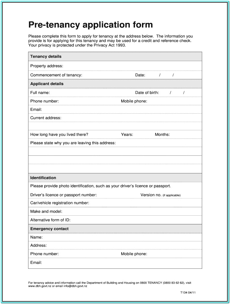 Downloadable Tenant Rental Application Form