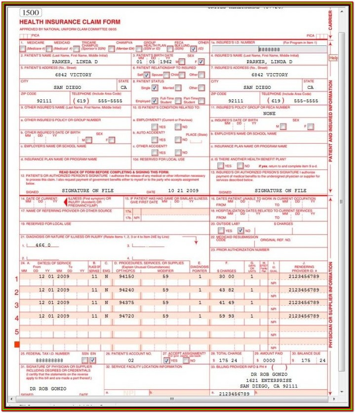 Electronic Cms 1500 Form