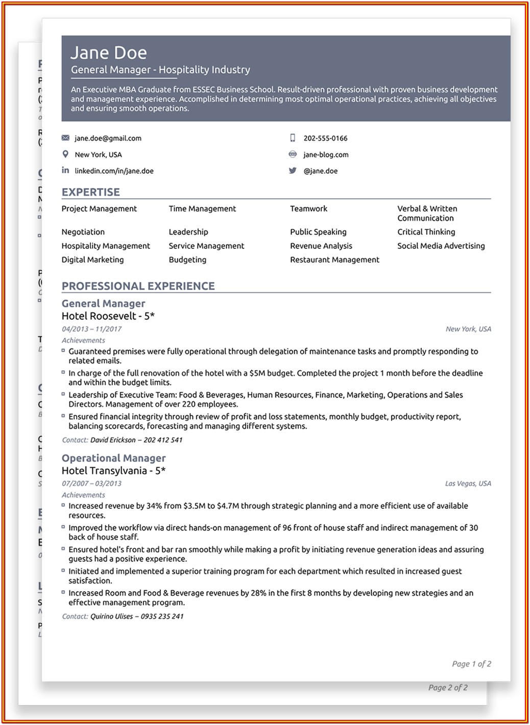 Empty Resume Form Download
