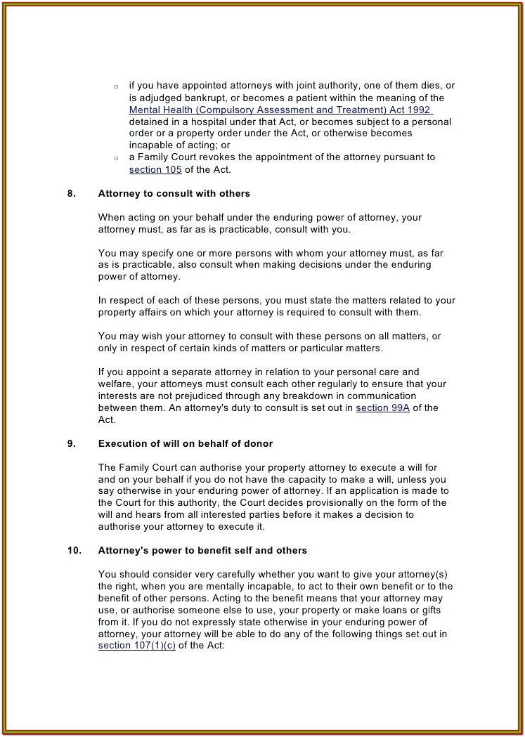 Enduring Power Of Attorney Form Download
