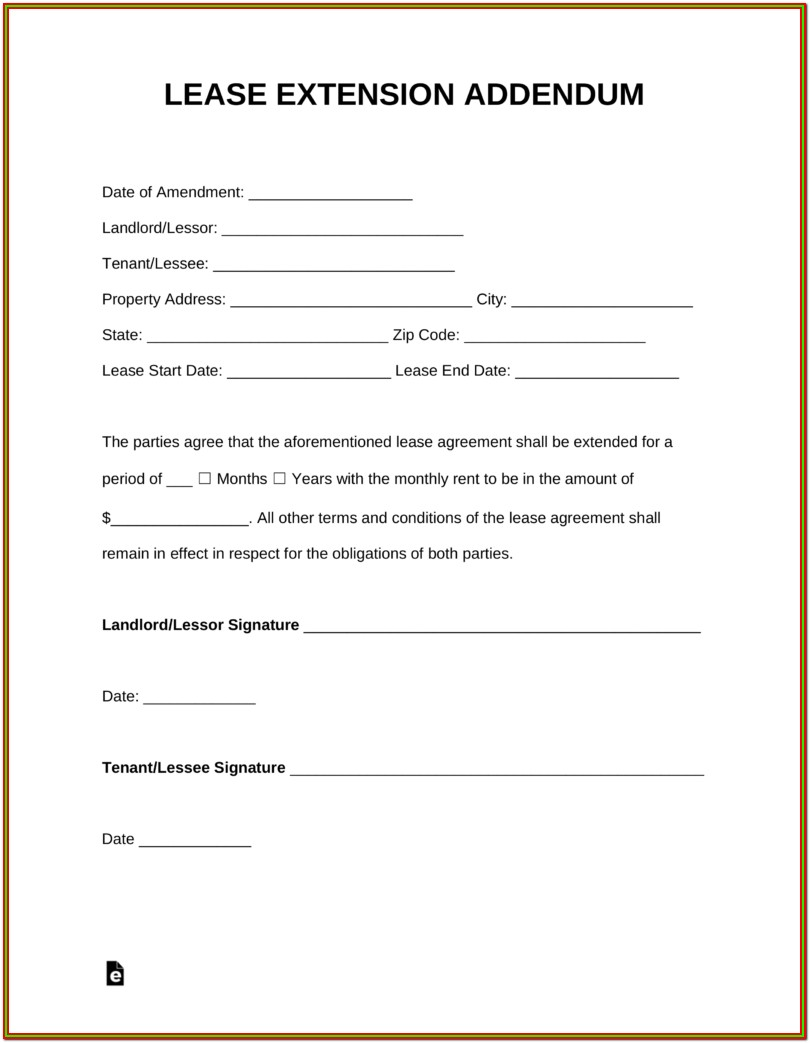 Extension Of Lease Agreement Format