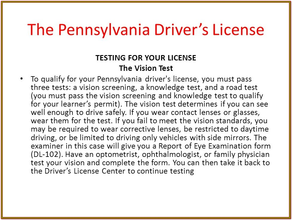 Eye Test Form For Driving Licence