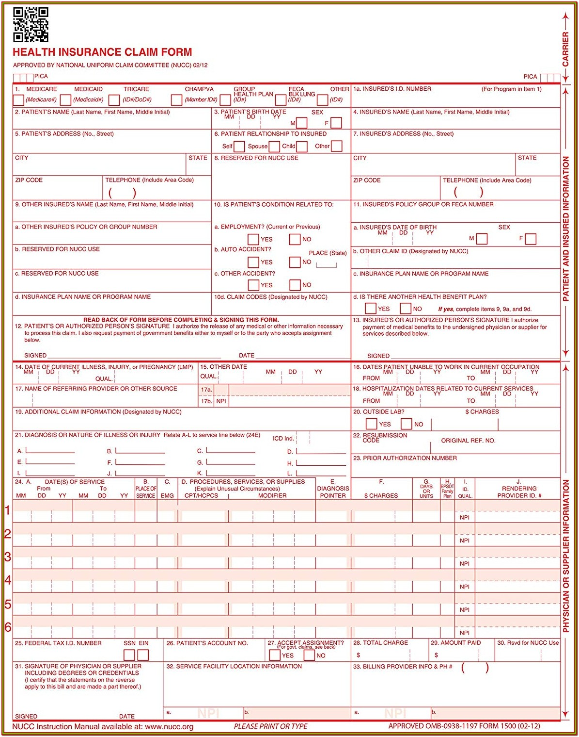 Fillable 1500 Claim Form Download