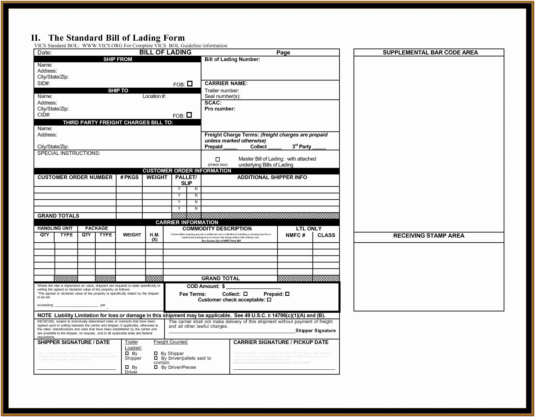 Fillable Bill Of Lading Form