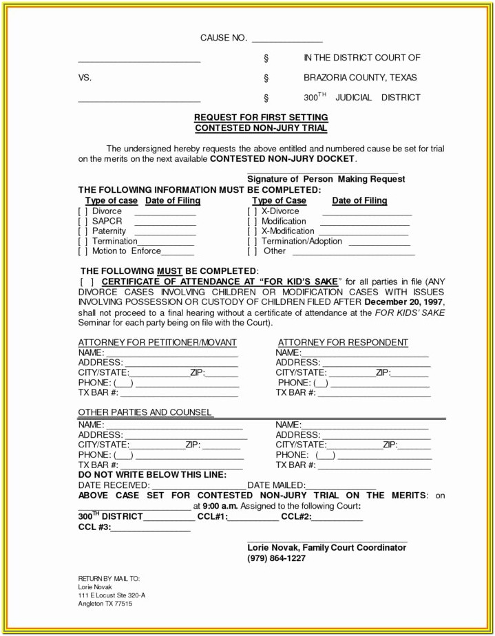 Final Decree Of Divorce Form