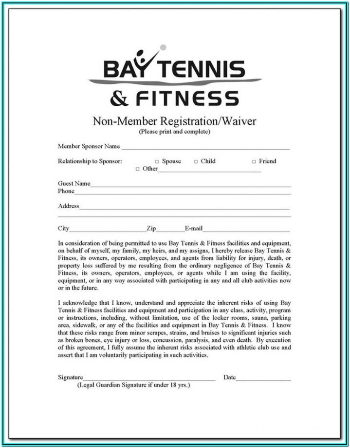 Fitness Waiver Form Template