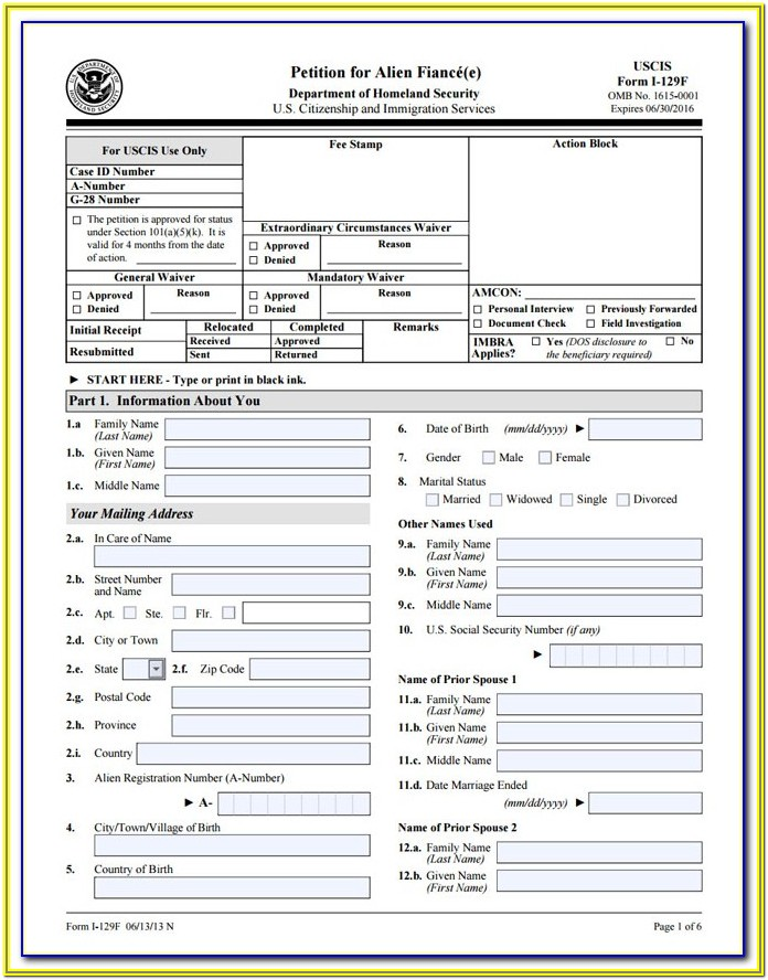 Form For Fiance Visa