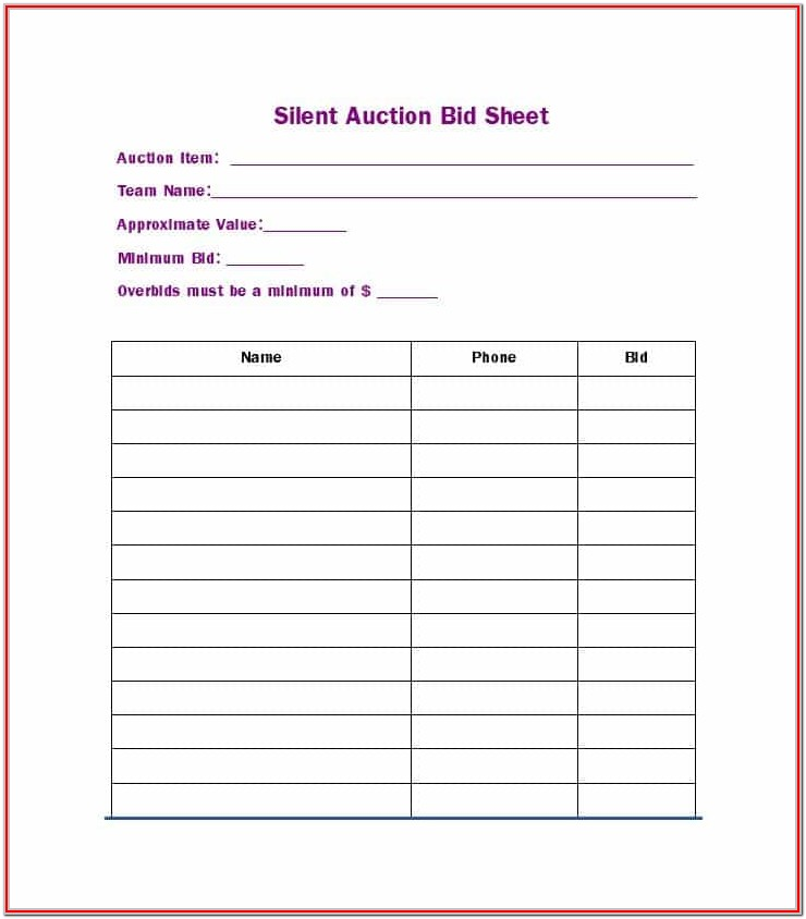 Form For Silent Auction Bidding Sheet