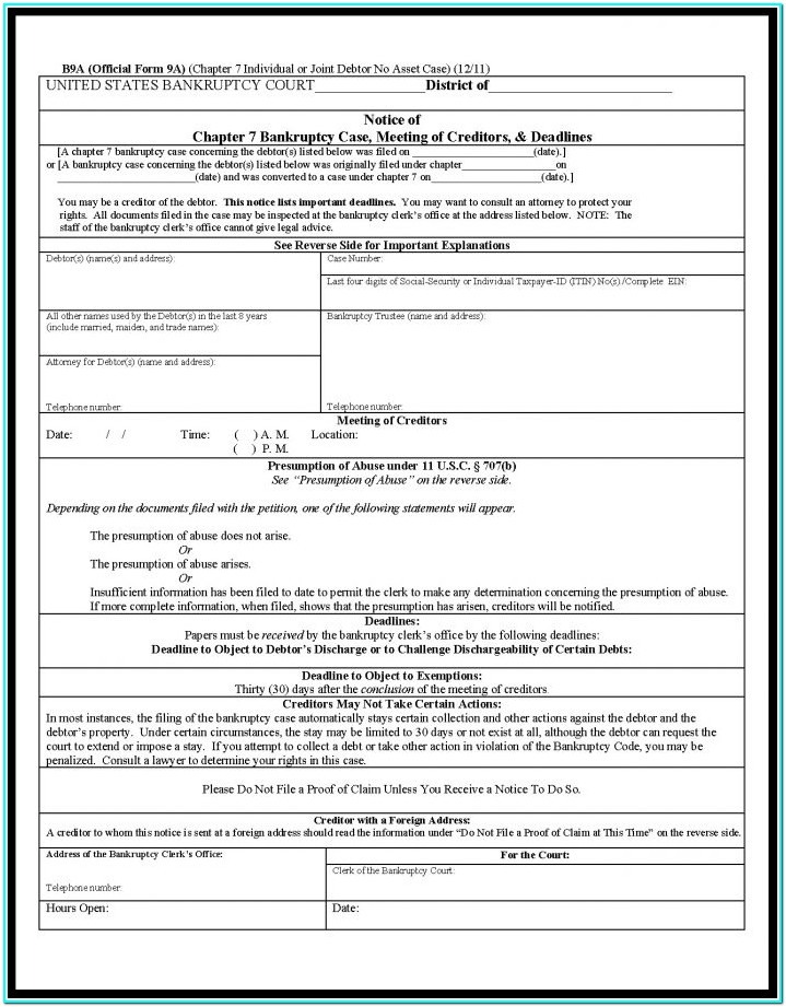 Forms For Bankruptcy Chapter 7
