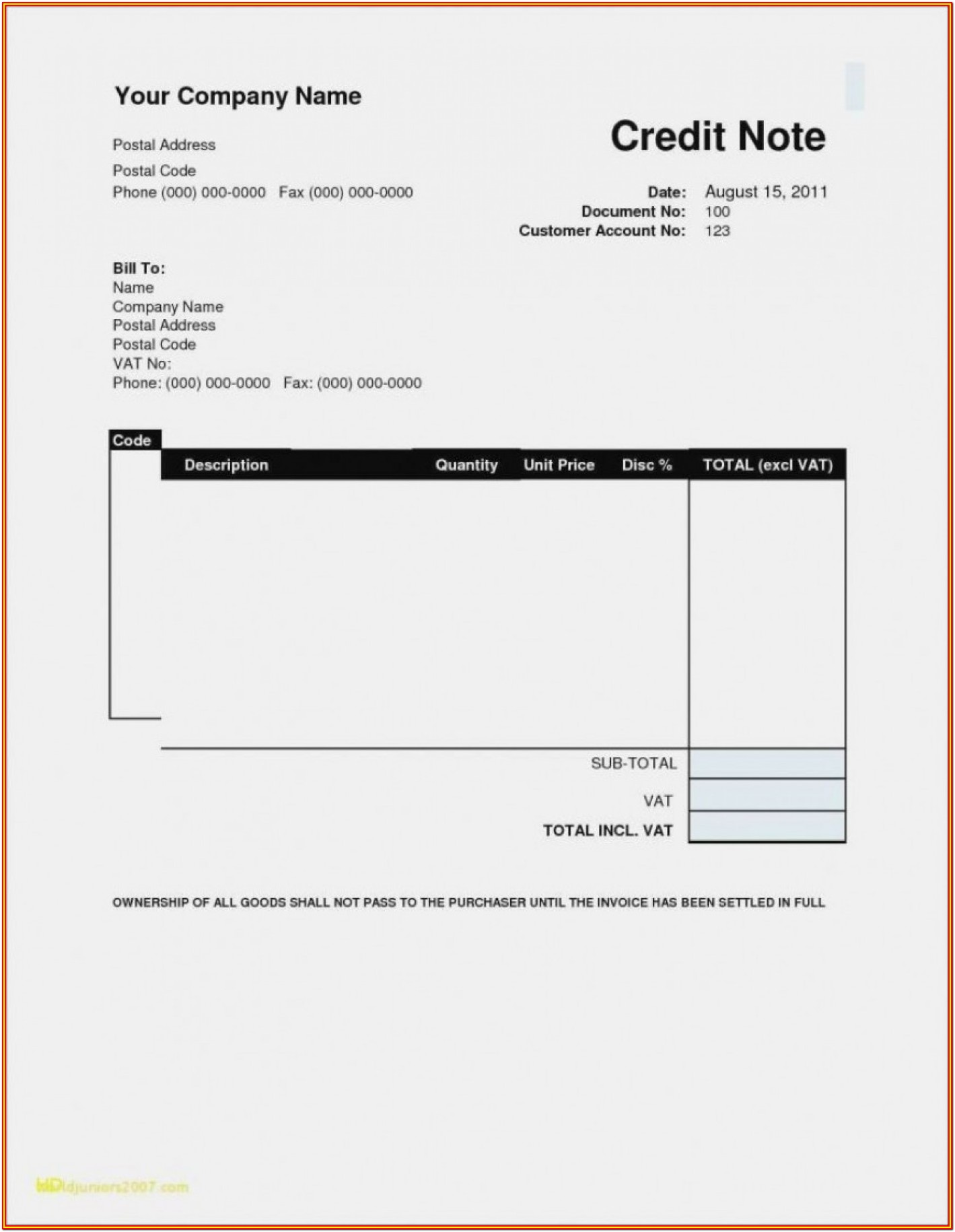 Free Blank Printable Invoices Forms