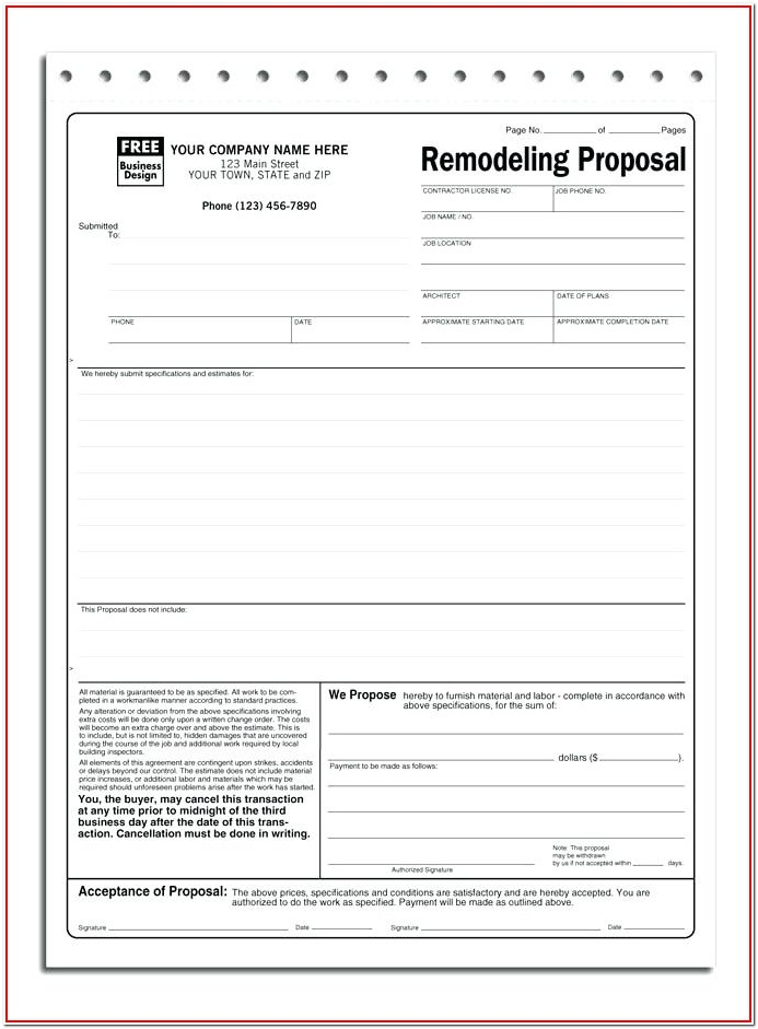 Free Contractor Proposal Forms Templates
