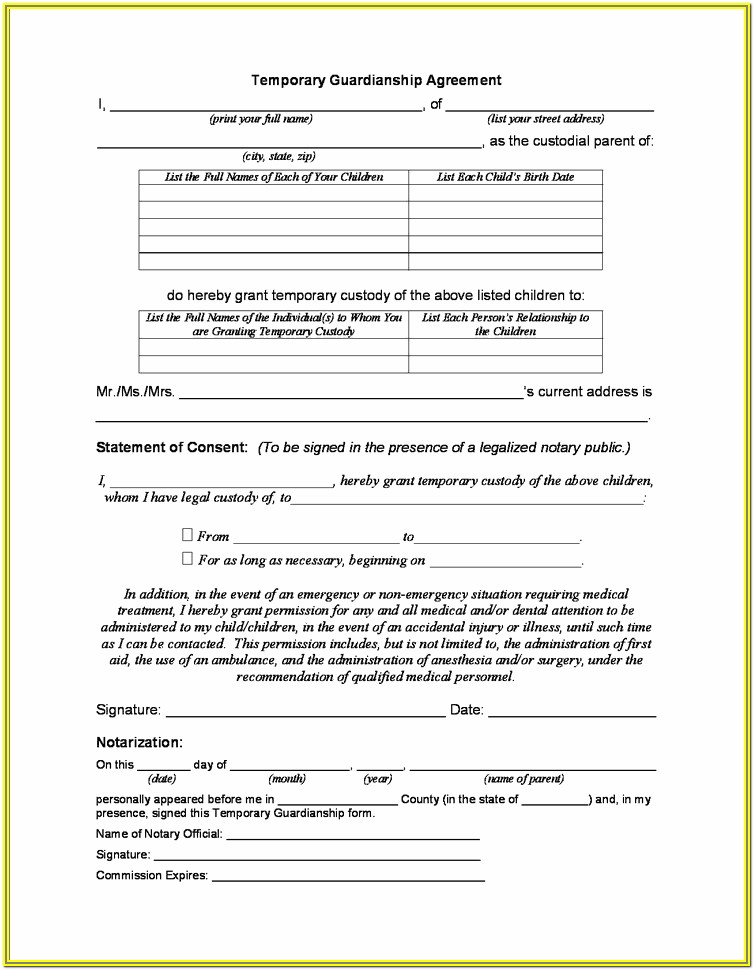 Free Guardianship Forms For Children