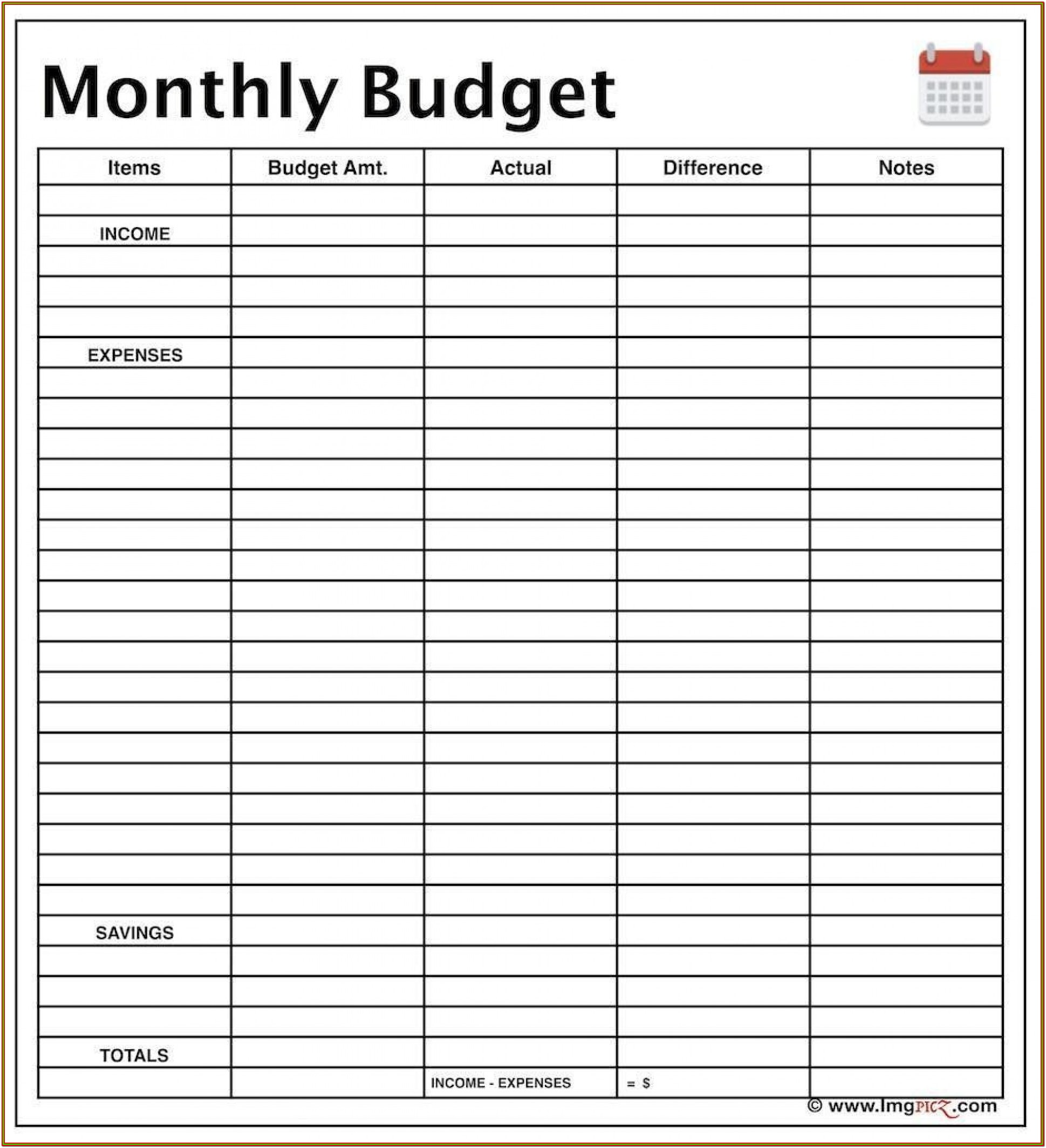 Free Monthly Budget Forms
