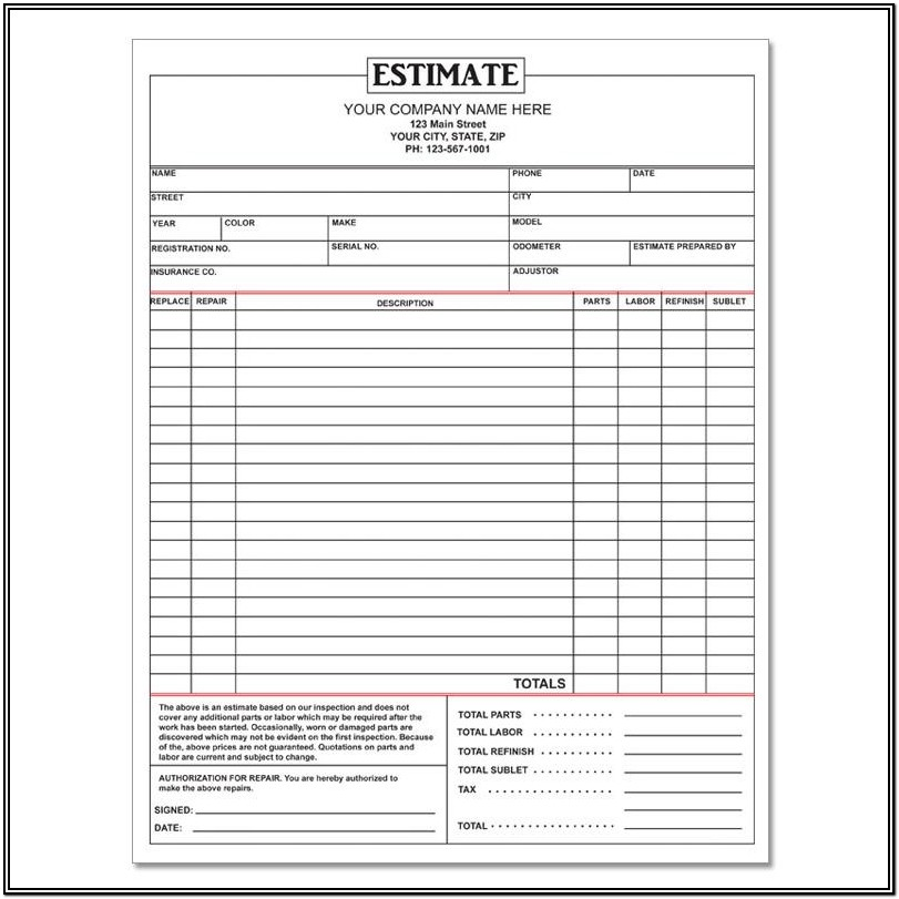 Free Printable Auto Body Repair Estimate Forms