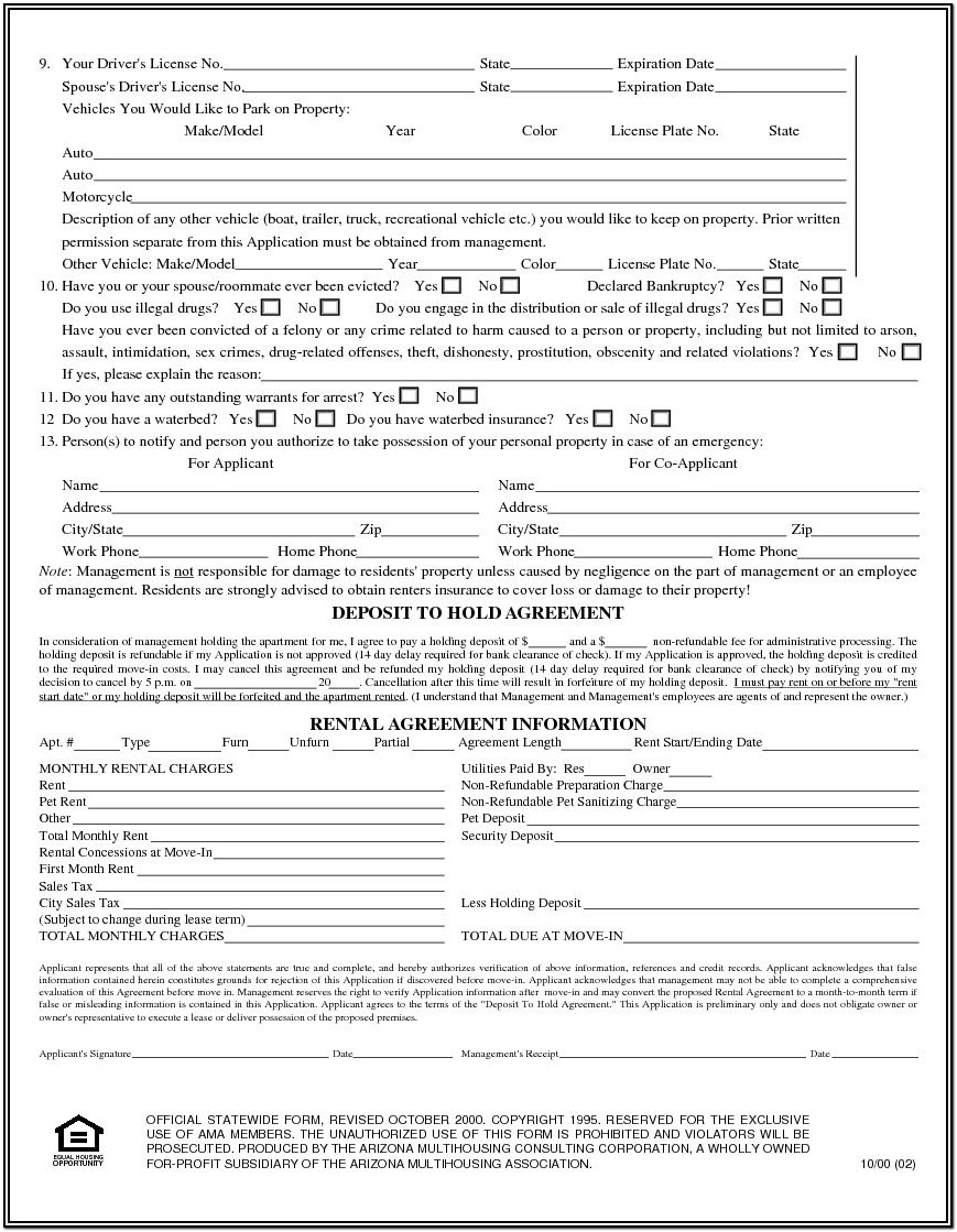 Free Printable Basic Rental Application Form