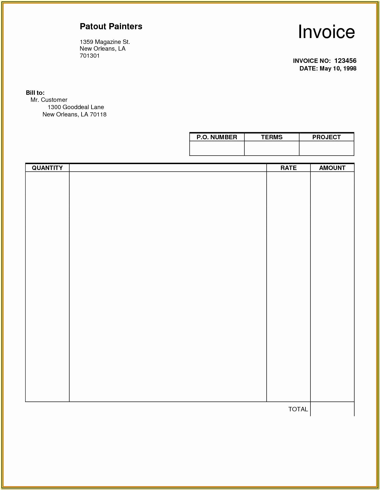 Free Printable Blank Invoice Form